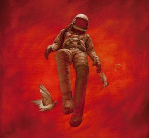 The Red Cosmonaut / Oil on Board - Jeremy Geddes
