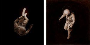 Cosmonaut 4 & 1 / Oil on Board - Jeremy Geddes