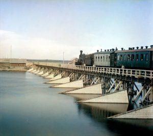 Железнодорожный мост через реку Шую / The railroad bridge over the river Shuya - 1915 by Prokudin Gorsky
