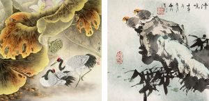 Cranes of Longevity Under Lotus by Lou Dahua (left) and Quitness by Wu Zhang Yen (right)