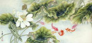 Koi Fish and Lotus by Lou Dahua