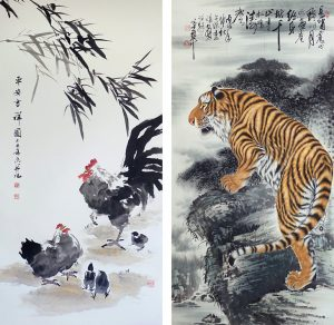 Rooster - Security by Lin Jing (left) and Tiger at Night by Li Ming (right)