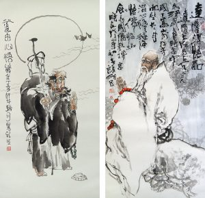 To Achieve Enlightenment by Long Shau Yen (left), Damo Enlightenment by Chu Ming (right)