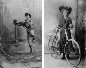 Long distance cyclist, G. E. B. Timewell, 1885 (left), Amy Jorgensen of Charters Towers posing with a ladies' bicycle (right))